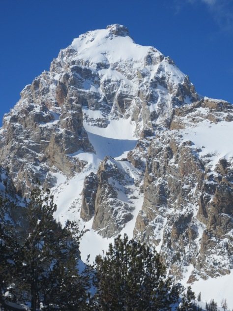 The upper flanks of the Grand Teton.  April 3rd, 2014.  There was one obvious avalanche crown near the middle of the upper snowfield.