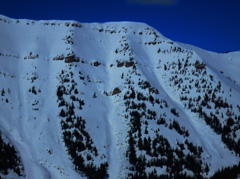 A small avalanche on Taylor Peak, Teton Pass, 3.22.14