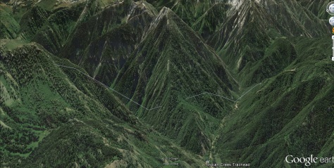 Palisades, Indian Creek, Middle Indian Peak NW Ridge Aerial (Google Earth)
