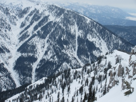 Middle Indian N aspects from Blowout Mountain (looker's right), Indian Creek, Palisades, Wydaho