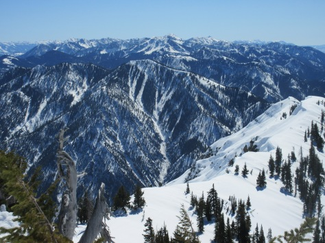 N aspect of Brad Peak from Point 9560+.  A large slide ran most of the way down the handle of The Rake.