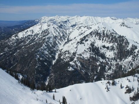 3.29.15: Looking North at the Middle Indian (LL) and Talisman Peak (LR) from Unnamed Point North of Ferry Peak.  South facing slopes are melted out almost completely for the lower half of the mountain.