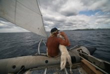 Maestra and Max enjoying the dinghy's last legs off Nicaragua.