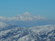 The glorious Tetons from Morningstar Peak, Grey's River, Wyoming. Note the hazy cloud at the top of today's pronounced temperature inversion in Jackson Hole. 12.1.15