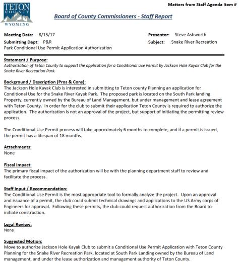 Teton County Commissioners Kayak Club Proposal